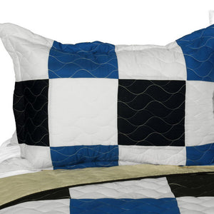 Elegant Blue Black & White Checkered Teen Boy Bedding Full/Queen Quilt Set - Pillow Sham