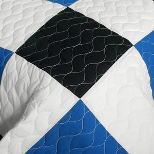 Elegant Blue Black & White Checkered Teen Boy Bedding Full/Queen Quilt Set - Detail