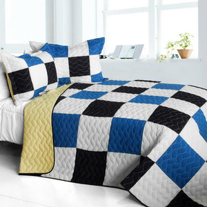 Elegant Blue Black & White Checkered Teen Boy Bedding Full/Queen Quilt Set Geometric Patchwork Bedspread