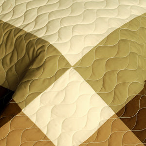 Brown & Tan Geometric Teen Bedding Full/Queen Quilt Set Patchwork Bedspread