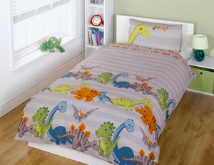 Grey Little Dinosaur Bedding Toddler Twin Duvet / Comforter Cover Set