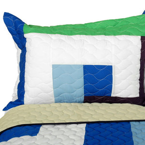 Blue Green White & Purple Striped Teen Bedding Full/Queen Quilt Set - Pillow Sham