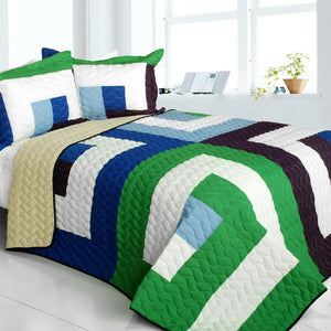 Blue Green White & Purple Striped Teen Bedding Full/Queen Quilt Set Modern Geometric Bedspread