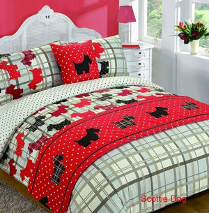Scottie Dog Print Bedding Twin or Full Duvet Cover / Comforter Cover Set Red White Black