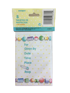 Rubber Ducky Baby Shower Invitation Cards 8 CT - Yellow Dot