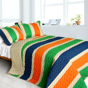 Blue Green Orange Teen Boy Bedding Full/Queen Quilt Set Striped Colorful Modern Oversized Bedspread