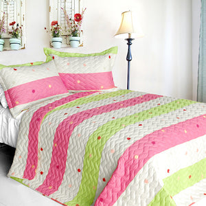 Pink Green Polka Dot Striped Quilt Set