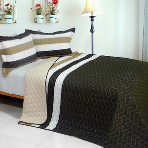 Brown Striped Teen Bedding Full/Queen Quilt Set Elegant Oversized Bedspread