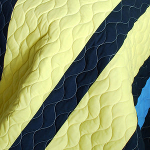 Blue Yellow Navy Striped Teen Bedding Boy or Girl Full/Queen Quilt Set - Detail