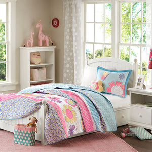 Pink Blue Daisy & Butterfly Bedding Twin Full/Queen Little Girls Quilt Set Floral Bedspread & Pillow