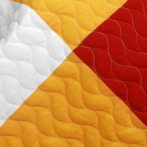 Black White Yellow & Red Checkered Teen Boy Bedding Full/Queen Quilt Set - detail