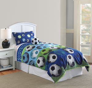 Blue Green Soccer Ball Bedding Twin Full/Queen Comforter Set with Plush Pillow - Boy Girl