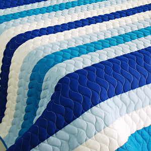 Blue & White Striped Teen Boy or Girl Bedding Striped Quilt Set - Detail