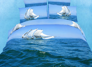 Sail Boats Blue Ocean Bedding Twin or Queen Duvet Cover Set Nautical Designer Ensemble
