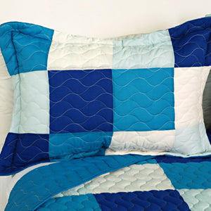 Modern White Blue Patchwork Teen Bedding Boy Girl Quilt Set - Pillow Sham