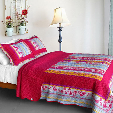 Red Hot Pink Floral Full/Queen Girl Bedding Blooming Garden Cotton Quilt Set