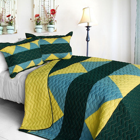 Green Blue Yellow Geometric Teen Boy Bedding Full/Queen Quilt Set Oversized Modern Bedspread