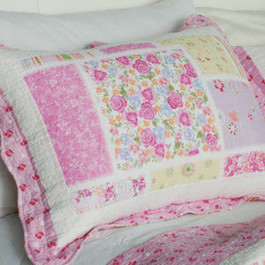 Floral Pink Rose Print Girl Bedding Full/Queen Quilt Set - Pillow Sham