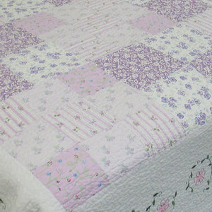 Romantic Lavender Girl Bedding Floral Lace & Patchwork Twin Full/Queen King Cotton Reversible Bedspread
