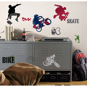 Extreme Sports Skateboarding Wall Stickers Decals Peel & Stick Boys Room Decor Mural