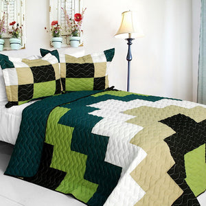 Black Green White Tan Teen Boy Bedding Full/Queen Quilt Set Geometric Bedspread