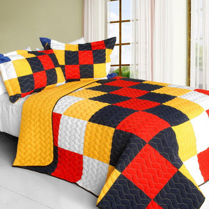 Orange Blue Black Checkered Bedding Teen Boy Girl Full/Queen Quilt Set Colorful Bedspread