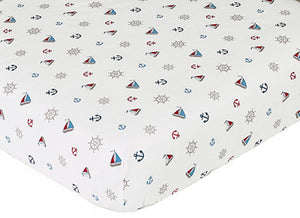 Nautical Themed Fitted Crib Sheet - Sailboats Wheels Anchors