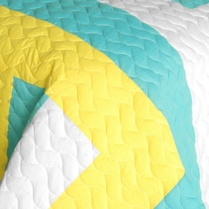 Black Yellow Green & White Geometric Quilt Set