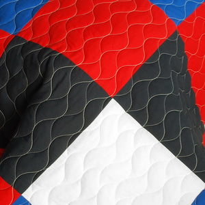 Red Black Blue White Geometric Teen Boy Bedding Full/Queen Modern Quilt Set