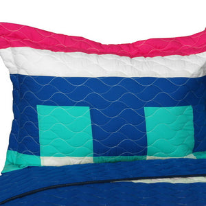 Blue Green White & Hot Pink Teen Girl Bedding Full/Queen Geometric Quilt Set - Pillow Sham