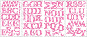 Pink Alphabet Letters Polka Dot Wall Stickers Decals Girls Room Decor
