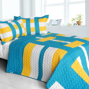 Turquoise Blue Yellow & White Striped Teen Bedding Full/Queen Quilt Set Geometric Modern Bedspread