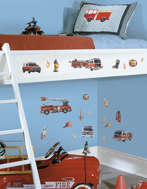 Fire Trucks Wall Decals Stickers Boys Room Decor