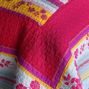 Red Hot Pink Floral Full/Queen Girl Bedding Blooming Garden Cotton Quilt Set - Detail