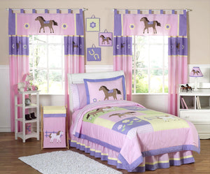 Pink Pony Horse Bedding for Girls Full/Queen Comforter Set 3pc Collection