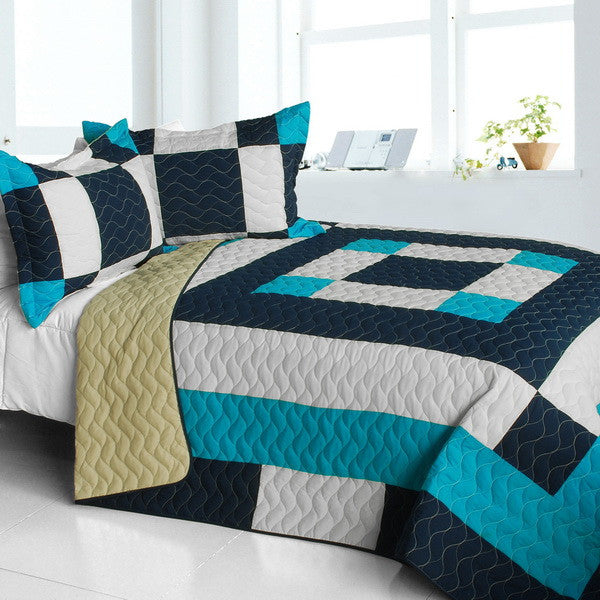 Modern Turquoise Blue White Patchwork Teen Boy Bedding Full/Queen Quilt Set Geometric Bedspread