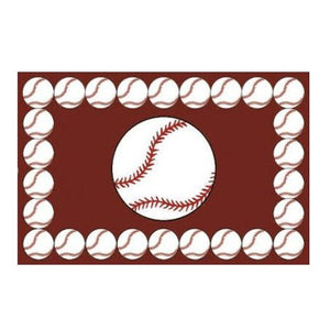 "Baseball Rectangle Sports Rug Small 19"" x 29"" or Large 39"" x 58"""