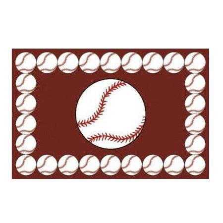 "Baseball Rectangle Sports Rug 19"" x 29"" or 39"" x 58"""