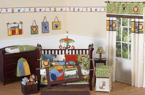 Jungle Time Safari Animals Baby Boy Bedding Infant Nursery Crib Set Green Brown Red Bumperless