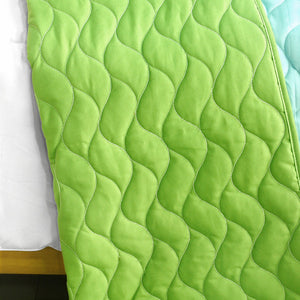 Green Red Blue Striped Teen Bedding Full/Queen Quilt Set - Back