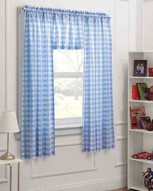 Blue and White Gingham Plaid Check Print Window Curtain Set 3pc - Panels with Valance 63""
