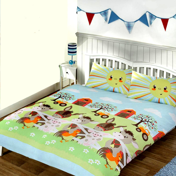 Sunshine Farm Bedding Full Duvet Cover / Comforter Cover Set - Piggies, Donkeys, Roosters & Tractors