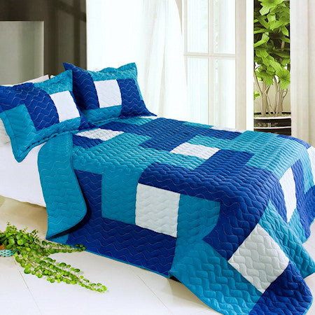 Blue White Modern Patchwork Bedding Teen Full/Queen Quilt Set Modern Geometric Bedspread