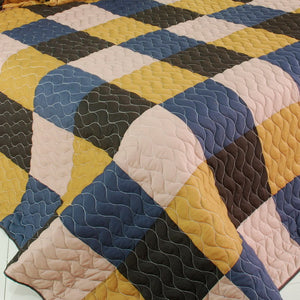 Brown & Navy Blue Patchwork Teen Boy Bedding Full/Queen Quilt Set Oversized Bedspread
