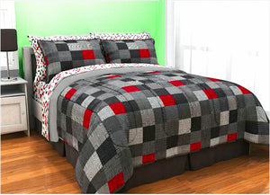 Minecraft Cave Red Black Grey Geo Block Teen Boy Bedding Twin Full Queen Comforter Bed Bag Set