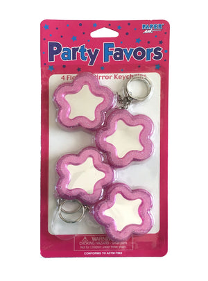 Purple Glitter Flower-Shaped Mirror Keychains 4 CT Party Favors