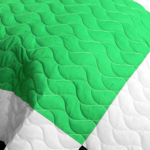 Black White Green Yellow Geometric Teen Bedding Full/Queen Quilt Set - Detail