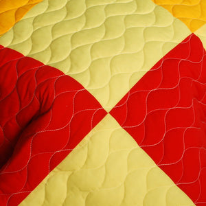 Yellow Black Red Checkered Teen Boy Bedding Full/Queen Geometric Quilt Set