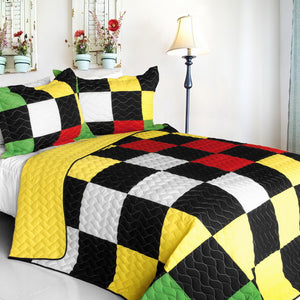 Black White Yellow Red & Green Patchwork Quilt Set