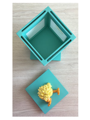 "Little Suzy's Zoo Witzy Yellow Baby Duck Teal Keepsake Photo Frame Spinning Cube - Four 3.25"" x 3.25"" Photos"